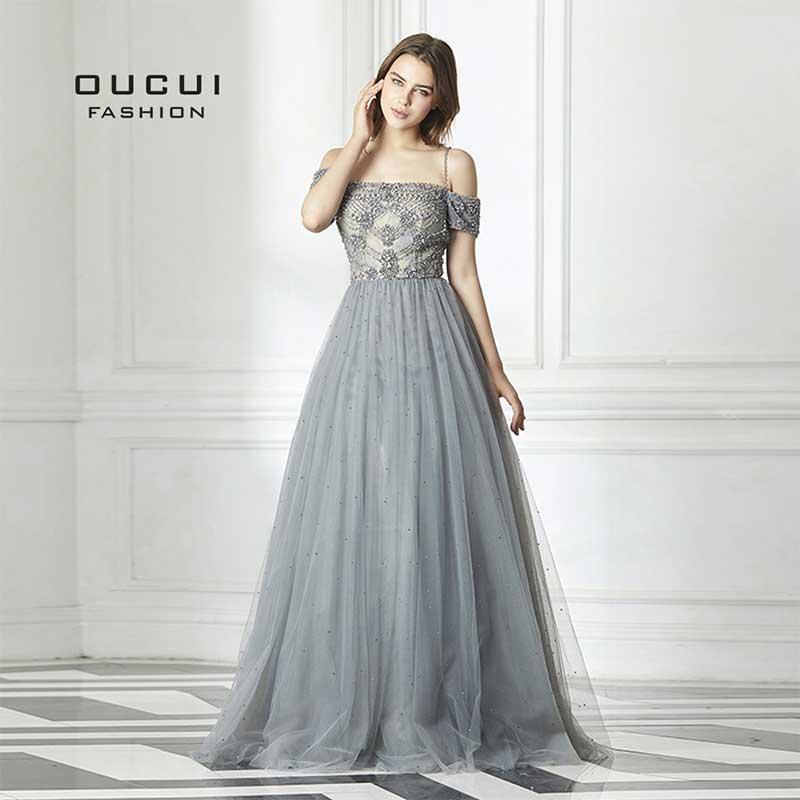 Oucui, Новое сексуальное длинное вечернее платье с открытой спиной, фатиновое торжественное платье ручной работы, хрустальное бальное платье