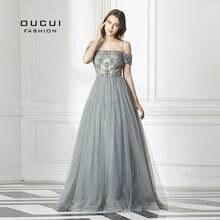 Oucui חדש סקסי ללא משענת ארוכה שמלת ערב טול פורמליות בעבודת יד קריסטל כדור שמלת סירת צוואר ספגטי רצועת חם תרגיל OL103016