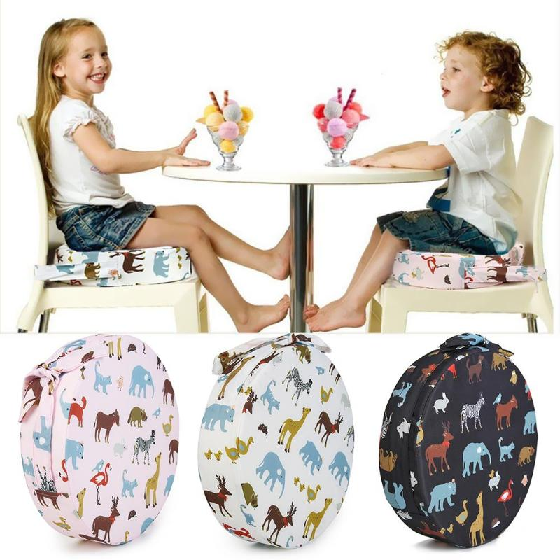 Round Children Increase Seat Cartoon Animal Print Adjustable Sponge Baby Booster Washable Dining Chair Cushion Accessories