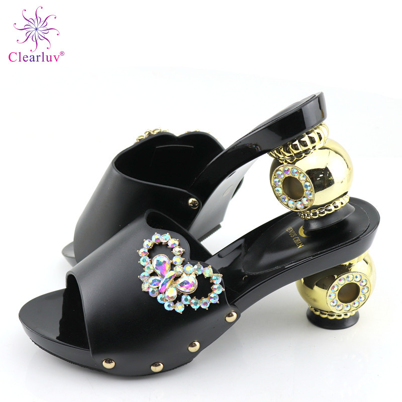 New Arrival Rhinestone Women Wedding Shoes Decorated With Rhinestone Summer High Heeled Shoes For Women Elegant Slip On Shoes