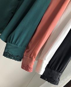 Image 5 - Hollow haftowana jedwabna koszula w stylu Vintage elegancka, długa rękaw guzik do koszuli z bluzką pokryte guziki