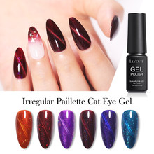 Lilycute 7 Ml Tidak Teratur Paillette Cat Eye Uv Gel Rendam Off UV LED Nail Polish Magnet Laser Bersinar Warna-warni Kuku art Lacquer(China)