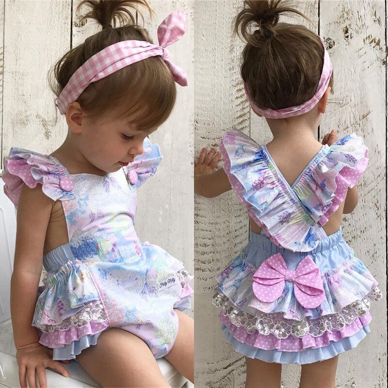 Newborn Baby Girls Sequins Lace Jumpsuit Floral Outfit Sunsuit Beach Suit