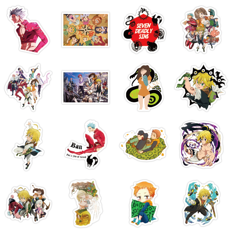 50pcs Japanese Anime The Seven Deadly Sins Stickers Graffiti Waterproof Decal Laptop Motorcycle Luggage Snowboard Car Sticker