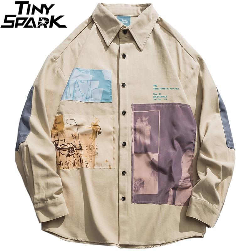 2019 Hip Hop Men Shirt Long Sleeve Streetwear Harajuku Shirt Graphic Patches Design Retro Vintage Shirt Loose Casual Tops Autumn