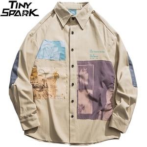Image 1 - 2019 hip hop camisa masculina de manga comprida streetwear harajuku camisa gráfica remendos design retro vintage camisa solta casual topos outono