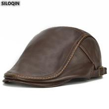 SILOQIN Adjustable Size Genuine Leather Hat For Men Autumn Winter Fashion Cowhide Berets