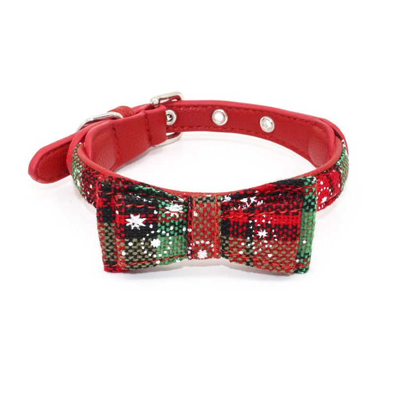 Christmas Pet Collar Printed Bow Dog Neck Ring Jin Ling Jie Pet Supplies Hot Selling Dog Chain