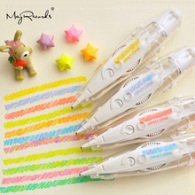 2019 New Kawaii Crayon Fluorescent Correction Tape DIY Creative Stationery Cute Decoration Pen Diary Handbook School supplies(China)