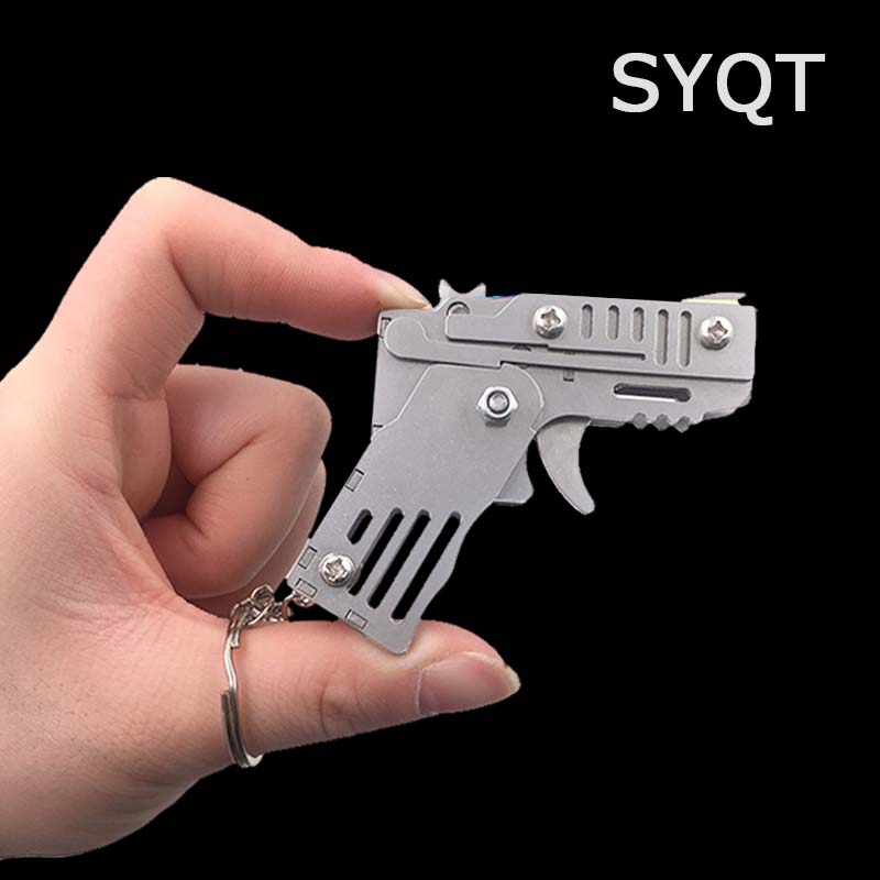 MINI Rubber Band Gun Foldable High Quality Stainless Steel Mini Rubber Band Gun Child Gift Toy Continuous Hair Toy Pistol