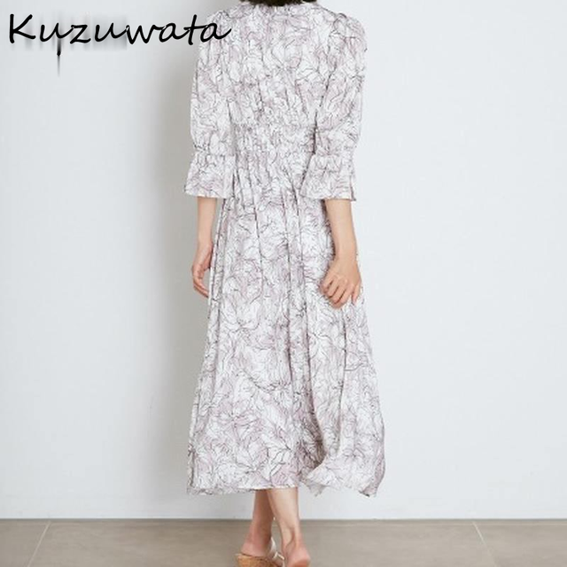 Kuzuwata V Neck Long Sleeve Slim Pullover Dress Women Vintage Print High Waist Hip A Line Long Vestidos Spring 2021 New Robe 5
