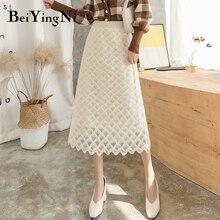 Beiyingni трикотажная юбка женская клетчатая эластичная винтажная миди-юбка с высокой талией Женская s кружевная Повседневная элегантная офисная линия