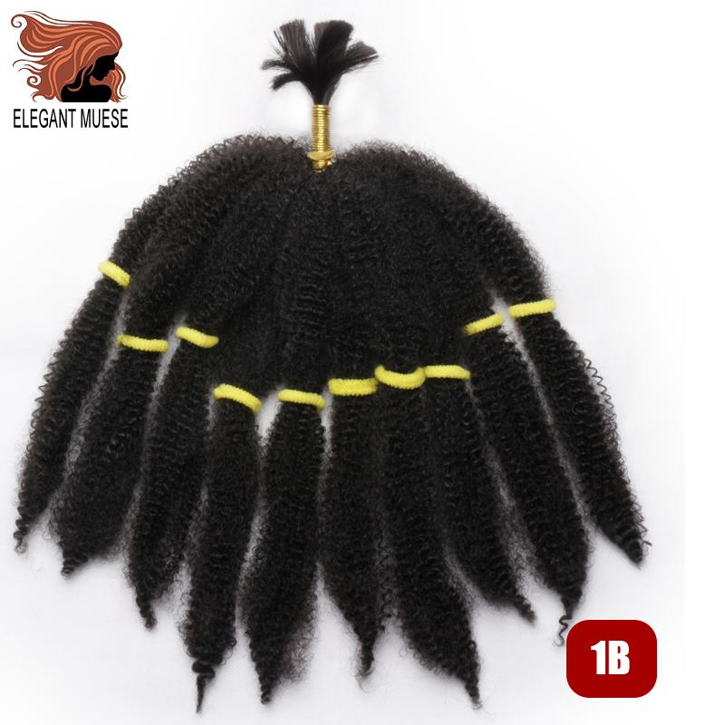 ELEGANT MUSES Hairstyles Extensions Afro Kinky Curly Bulk Crochet Braids Hair Curl Crochet Synthetic Braiding Hair For Women