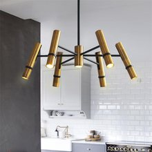 Modern Postmodern Chandelier Lighting Nordic Designer Golden Steam Tube Lustre Suspension Lamp for Living Room Bedroom LED Light(China)