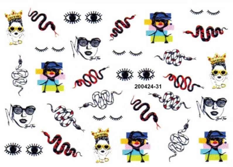 Autocollant acrylique gravé pour les ongles en 3D, motif fleur de serpent noir, décalcomanie impérialiste, glissement à l'eau pour les ongles, Z0311