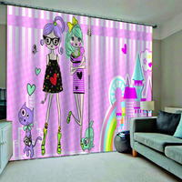 Pink Color Dream Princess Design Cartoon Curtains For Kids Girls Living Room Blackout Customized Size (left and right Side)