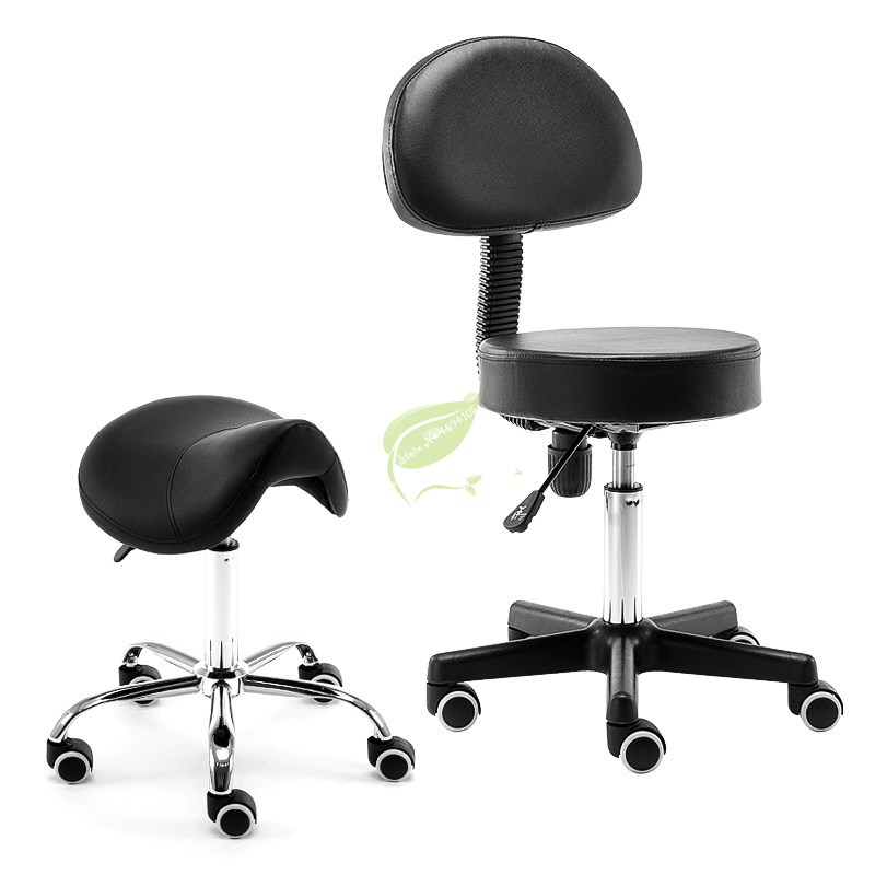 Beauty Rolling Massage Chair Saddle Stool Leather Upholstery Portable Pedicure Salan Spa Tattoo Facial Massage Swivel Chair