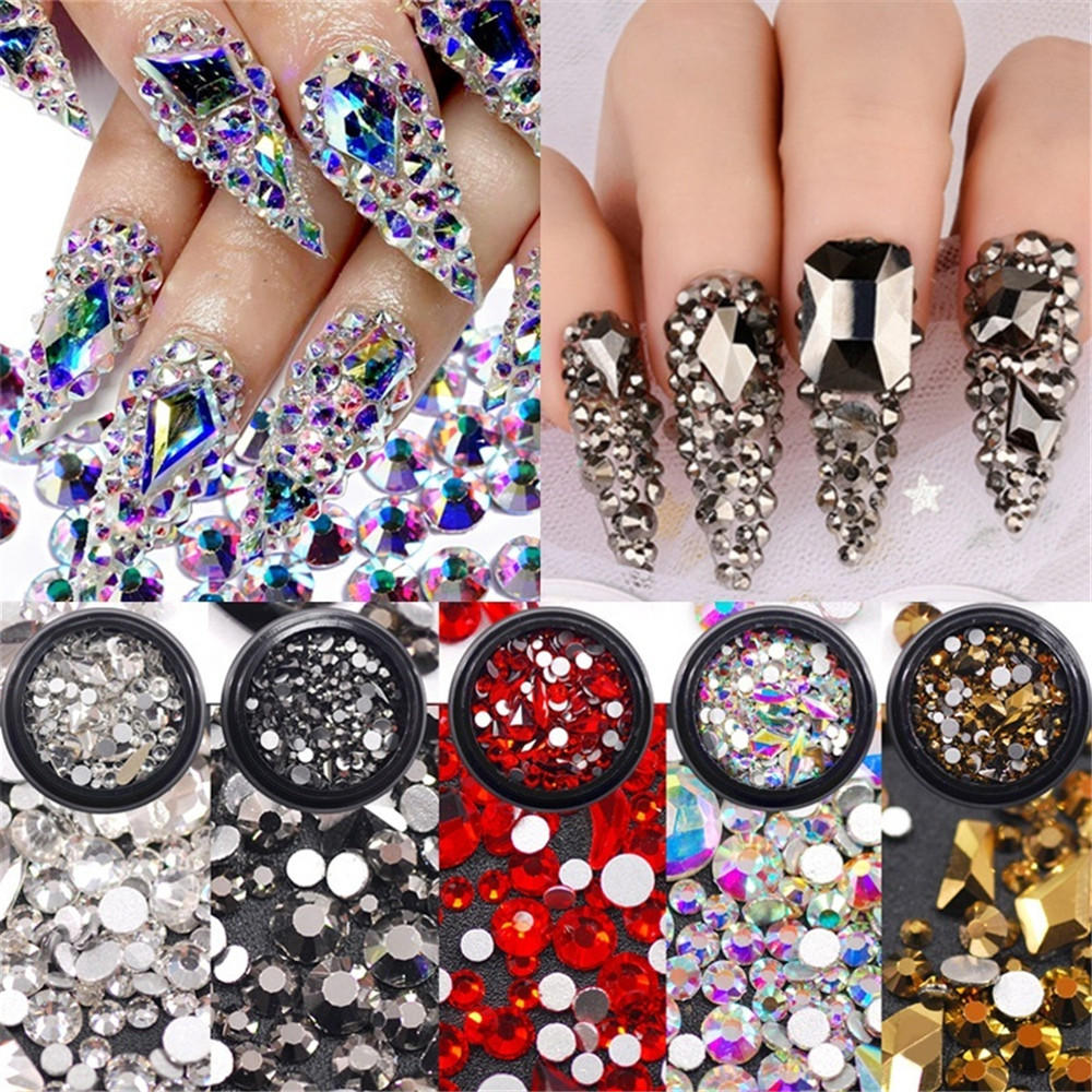 Mixed Sizes Crystal Clear AB Non Hotfix Flatback Rhinestones Nail Rhinestones for Nails 3D Nail Art Decoration Gems Decorations