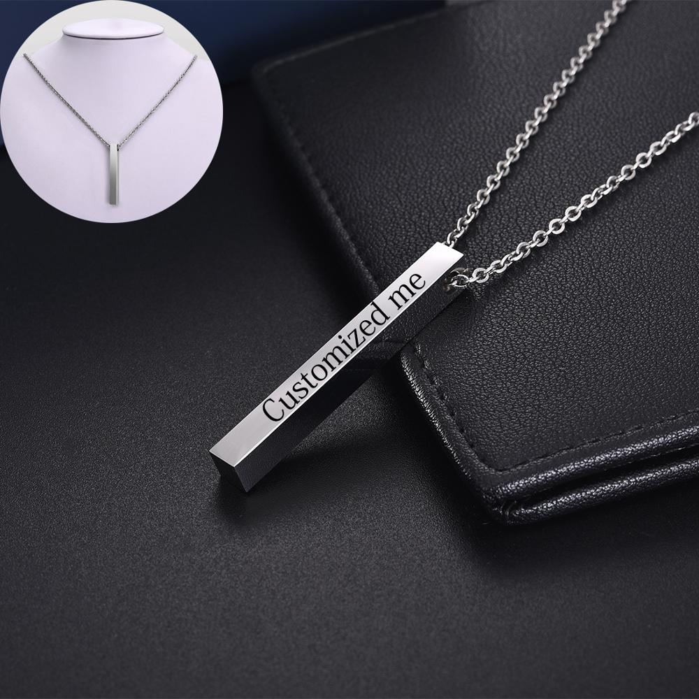 Jiayiqi Personalized Couple Stainless Steel Necklace Engraved Initial Name Vertical Bar Necklace Birthday Custom Jewelry Gift