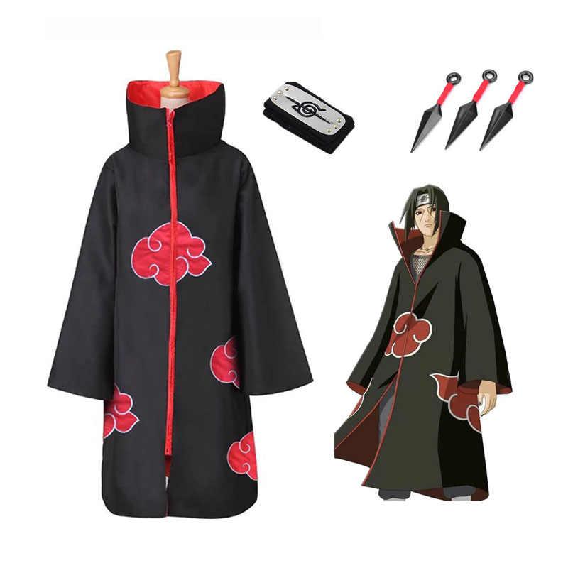 Dijual Hot Anime Naruto Akatsuki /Uchiha Itachi Cosplay Pesta Natal Halloween Kostum Jubah Cape