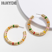 H:HYDE Ethnic Big Thick Hoop Earrings for Women Fashion Gold Metal Round Circle Statement Earrings Party Jewelry Gifts Brincos vivilady fashion 5pairs circle round hoop earrings women gold color heart queen rose crystal hiphop brincos boho jewelry gifts