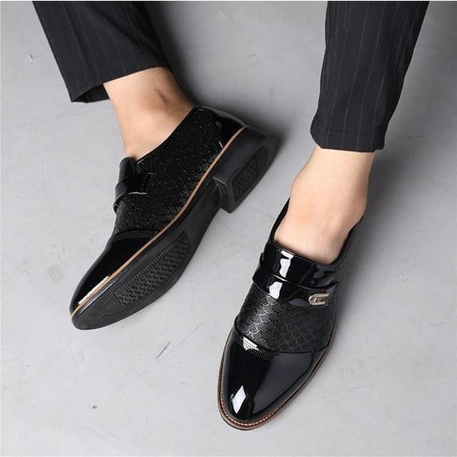 Italian Black Formal Shoes Men Loafers Wedding Dress Shoes Men Patent Leather Oxford Shoes For Men Chaussures Hommes En Cuir 5