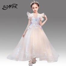 Платья для девочек с цветочной аппликацией ht166 элегантное