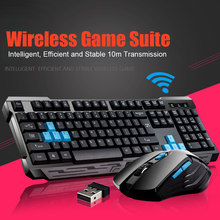 New Enhanced Keyboard Mouse Combos Waterproof Multimedia 2.4GHz Wireless Gaming Keyboard USB Cordless Mous DU55(China)