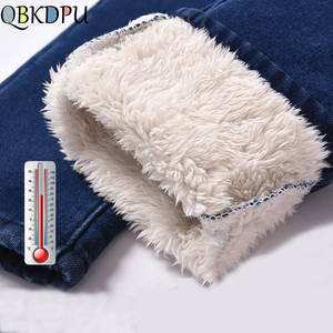 Winter Jeans Trousers Stretch Denim Pants Skinny Warm Thick High-Waist Casual Plus-Size