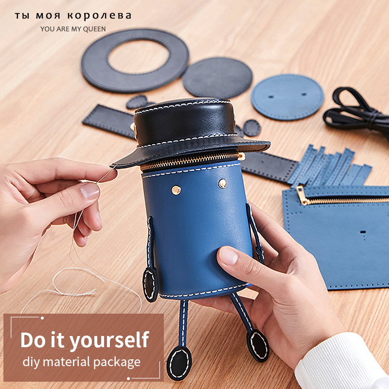 9PCS /Set Handmade Handbag Leather Accessories For DIY Girls Shoulder Bags Women Bag 2020 New Mini-Lovely Round Crossbody Bag