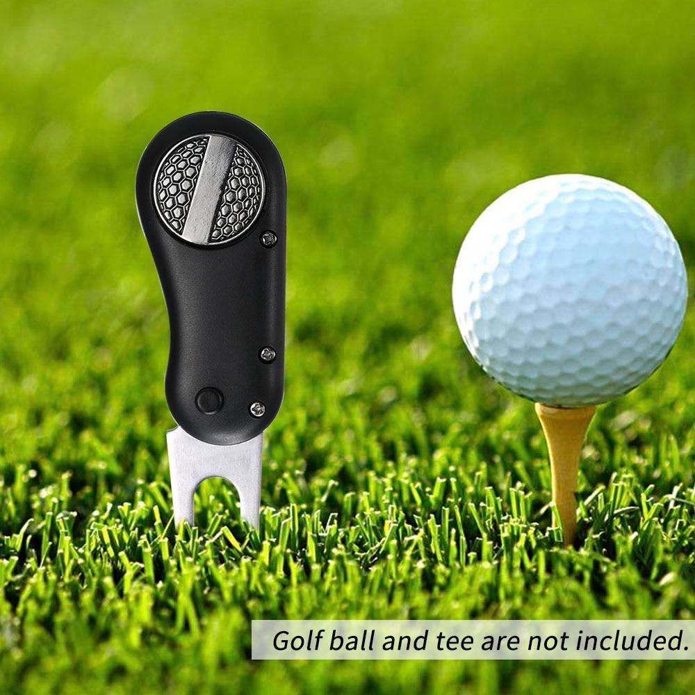 1 Pcs Steel Golf Divot Tool Foldable Golf Divot Tool Pop-up Button Golf Fork Magnetic Golf Accessories Dropshipping