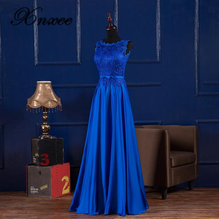 Xnxee élégant bleu Royal dentelle Satin longues robes pour la fête été 2019 robes vestidos XS-4XL