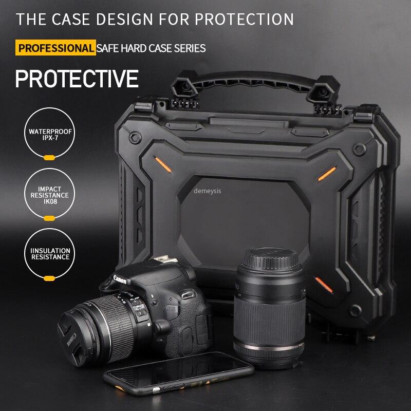 Arma de caça ao ar livre caso de segurança com espuma acolchoado câmera caso protetor à prova dwaterproof água tático pistola casca dura caixa