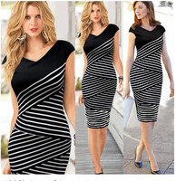 Women New Party Stripes Twill Slim Dress Colorblock Tunic Wear Work Business Casual Party Pencil Sheath Bodycon Dress Vogue