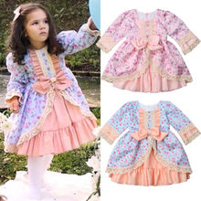 Girl Dress Baby Kids Girls Princess Formal Dress Lace Floral Bowknot Party Wedding Ball Gown Dresses Girls Autumn Clothing 1-6Y 2019 lace embroidery dress kids dresses for girl princess autumn winter party ball gown children clothing wear dress for girls