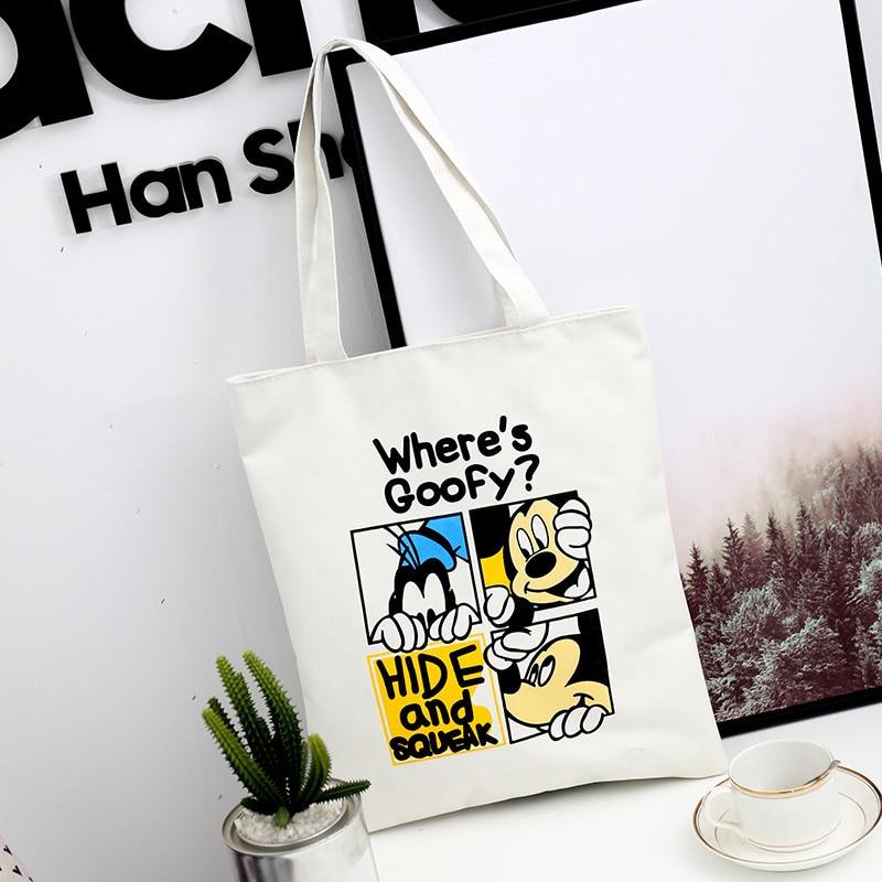 Disney Donald Duck Mickey Mouse  Shopping Bag Shoulder Bag High Capacity Handbag Bag Shopping Leisure Tote Bag Canvas