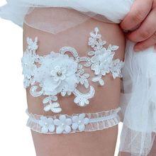 Leg-Garter-Belt Embroidery Rhinestone 2pcs/Set Wedding Womens Flower Stretch Jewelry