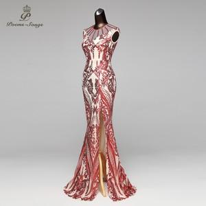 Image 2 - Poems Songs Mermaid Evening Dress prom gowns Formal Party dress vestido de festa Vintage Red Slit Luxury Sequin robe longue