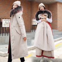 Новое поступление, пуховик с хлопковой подкладкой, тонкая Длинная зимняя куртка для женщин, плотное Женское пальто, теплые женские парки плюс бархат