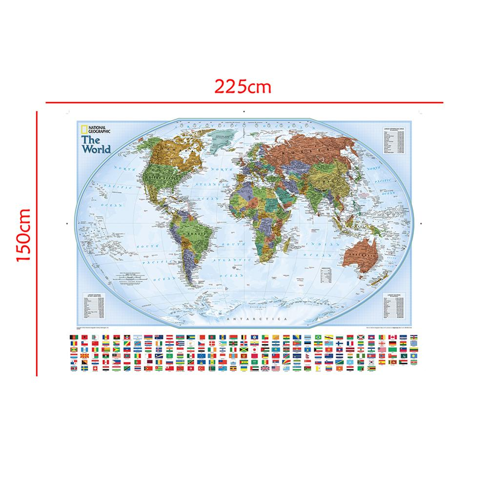 Non-woven Waterproof World Map With National Flags The World Physical Map For Culture And Education