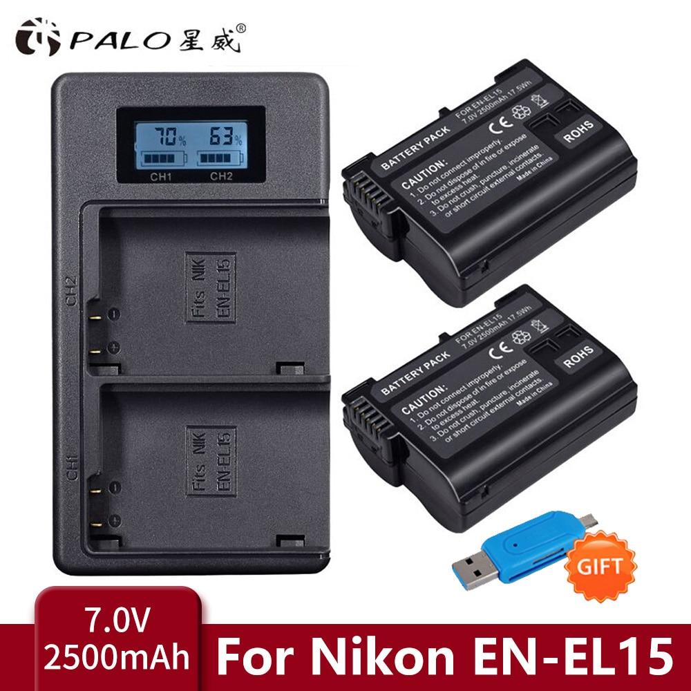 PALO – chargeur de Batteries LCD double USB EL15 ENEL15 EL15A, pour Nikon D600 D610 D600E D800 D800E D810 D7000 D7100 d750 V1