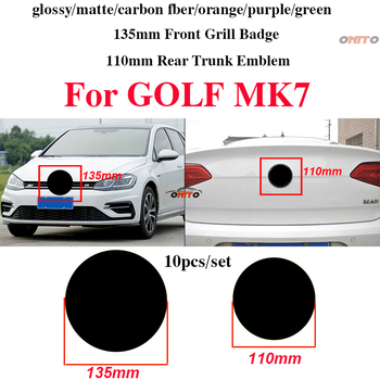10pcs Car Decoration 135mm 110mm Front Grill Badge Rear Trunk Emblem Logo Badge Covers Car Accessory ABS for Golf MK7