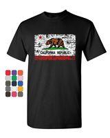 California Republic Flag T Shirt Cali CA Grizzly Distressed Bear Mens Tee Shirt
