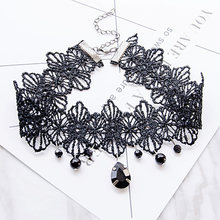 Punk New Fashion Women Black Lace& Beads Choker Pendant Collar Steampunk Style Gothic Collar Necklace Gift(China)