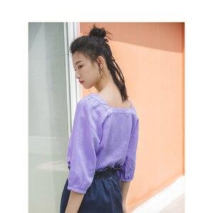 Image 1 - Женская блузка в стиле ретро с квадратным вырезом и рукавом три четверти