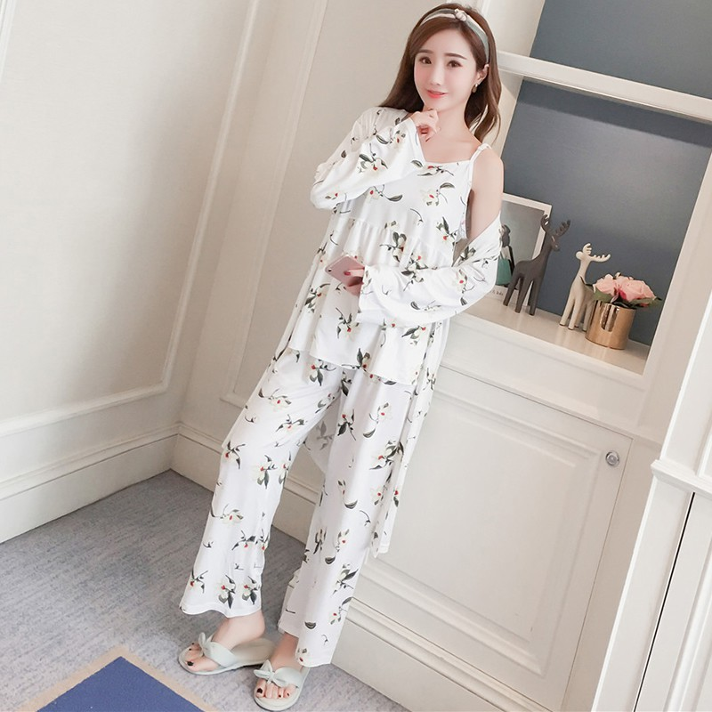 Женская сексуальная ночная рубашка с цветочным принтом, дышащая Удобная майка, пальто, штаны, комплект, женская ночная рубашка, пижама|Комплекты пижам|   | АлиЭкспресс