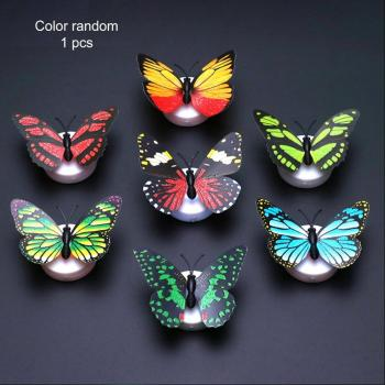 3D Creative Butterfly LED Night Light Wall Stickers Color light Home Bedroom Decorative Nightlights Party Light Atmosphere Lamp image