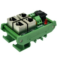 CZH-LABS DIN Rail Mount 2 Ports Passive RJ45 PoE Power Injection Board  Power Over Ethernet Injector Module.