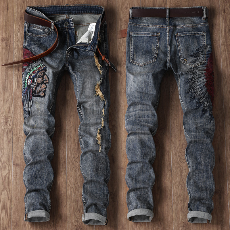 MEN'S Jeans Locomotive Pants With Holes Embroidered Indian Hot Selling Europe And America Jeans Men's