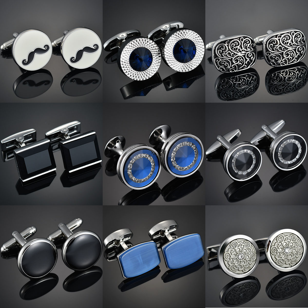 High-end Men's Shirts Cufflinks Luxury Design Silver Round Blue Crystal Cufflinks Gemelos Para Hombre Camisa Bouton Manchette